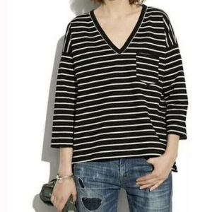Madewell striped sweater with side zipper detail